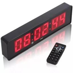 Cronometro Relógio Led Digital Parede Mesa C/ Controle Ideal para Crossfit e Academias