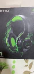 Headset Gamer Warrior Rama P3+Usb Stereo Adaptador P2 Led Verde - Ph299