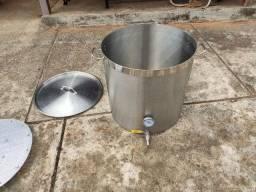 Caldeirão panela Inox 304 130l C/ Válvula, Termômetro fundo falso cerveja artesanal