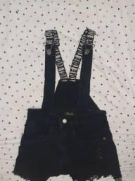 short suspensório jeans