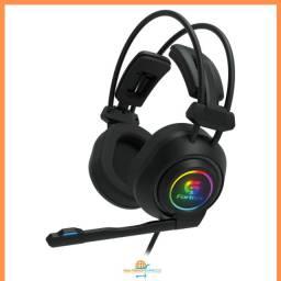 Fone Headset Gamer Led Rgb Vickers Preto Fortrek Usb P2