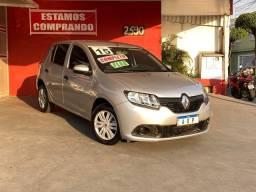 Título do anúncio: Renault Sandero  Authentique 1.0 PRATA COMPLETO  FLEX MANUAL