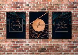 Placas decorativas trio Amor , Fé , Gratidão 20x28.