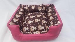 Cama Pet 40x40 gorgurinho estampado e corano rosa Pink