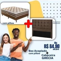 Título do anúncio: Promoção Conjunto Cabeceira + ColchãoBox Casal Espuma 9cm Altura - Só R$849,00