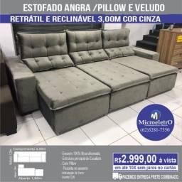 Sofá Angra Reclinável e Retrátil  3,00m Cinza no tecido veludo