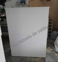 Balcão quadrado pequeno MDF 15mm branco com chave Isa móveis de salão