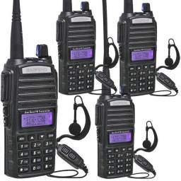 Kit 4 Rádio Ht Comunicador 5w Bf Uv-82 Dual Band Fm