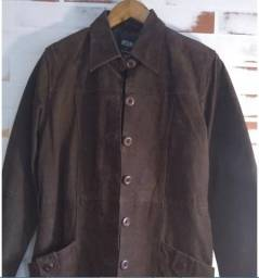 Casaco de couro marrom com faixa- Helium