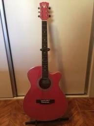Violão rosa elétrico