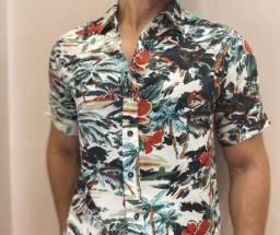Camisa Estampada Florida com Botão - Atacado e Varejo
