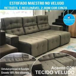 Sofá Maestro Reclinável e Retrátil  2,80m Cinza no tecido veludo