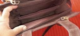 Bolsa de coro camurca marrom usada