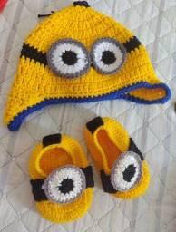Conjunto de crochê Minions bebê 7 meses