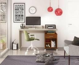 Novas Escrivaninha mesa c/ Rodízios Off white / Freijó = Frete grátis!