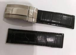 Pulseira para Rolex, couro preto, fecho em aço