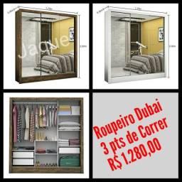 Roupeiro Dubai 3 pts de Correr/ Montagem Grátis.