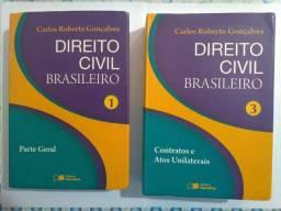 LIVROS DIREITO CIVIL BRASILEIRO VOL. 1 e 3 - CARLOS ROBERTO GONÇALVES