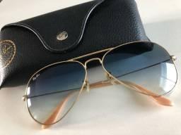 Óculos aviador rayban degradê azul ORIGINAL E USADO