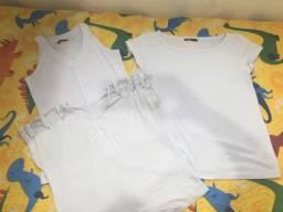 Lote 7 peças roupas brancas