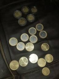 Moedas de euros .