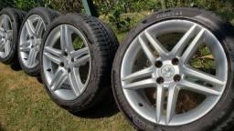 Jogo rodas 17 originais peugeot 308 otimo estado com pneus 225 45 17 pirelli