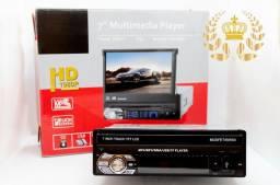 """Rádio MP5 Retrátil GPS Espelhamento de celular Bluetooth e Tela de 7"""" Full HD."""