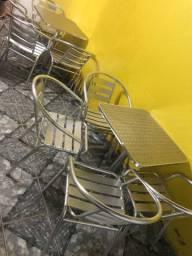 Jogo de cadeira inox com mesa
