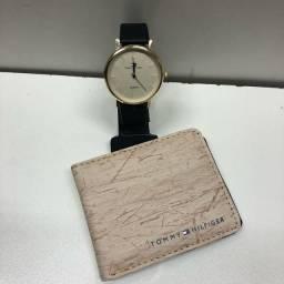 Kit relógio e carteira
