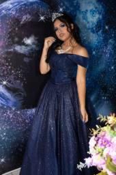 """Alugo Vestido de debutante """"estilo"""" galáxia"""