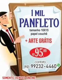 Panfleto couchê 90g r$95,00 arte grátis