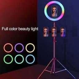 Novidade em BH ring light 10 polegadas colorido RGB tambem fica branco