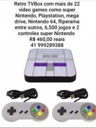 Repro Tv box com 6.500 jogos Super Nintendo PlayStation e outros