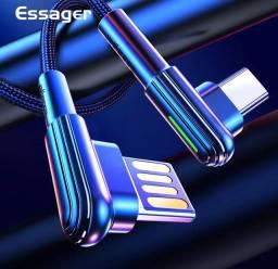 Cabo carregador tipo C Essager 2mts USB All Direct malha de kevlar led indicador