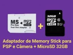 Adaptador Memory Stick + Cartão SD 32GB