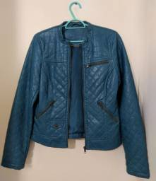 Jaqueta de couro azul turqueza