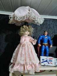 Abajur antigo boneca de porcelana