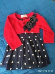 Vestido de poá com bolero em tricô