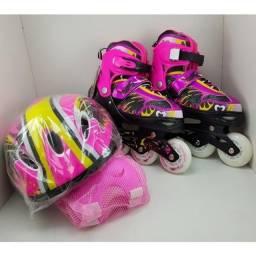 Patins online feminino c/rodas LED, Kit Proteção e bolsa - Tam. ajustável 35-38 - NOVO