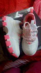 Tênis Plataforma 35 Pink/Branco