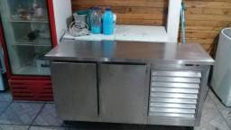 Balcão De Refrigeração De Encosto Em Aço Inox Escovado Fabricante