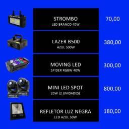 Iluminação para festas, laser, strombo, spider, mini bens, refletor luz negra