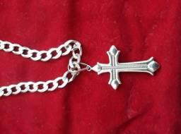 Corrente (60 cm) e crucifixo de (Prata 925) Novos