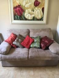 Sofá cama camurça semi-novo
