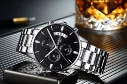 Relógio Nibosi Prata Luxo Original + Ajustador De Pulseira