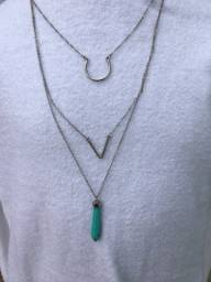 Cambo de maxi colares prata, joias folhadas!
