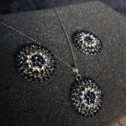 Colar e Brinco Luxo Folheado Prata Azul