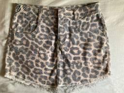 Saia jeans estampa tigresa