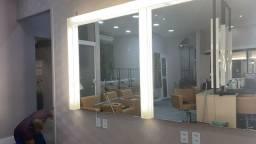 Espelhos com luminária portas jateadas acrílico tudo para seu salão ou casa