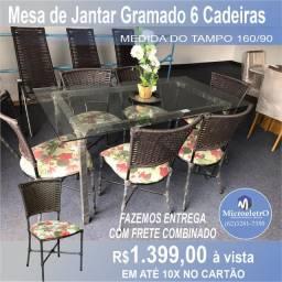 Mesa de Jantar 6 Cadeiras Gramado medida do tampo 160X90
